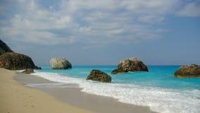 Megali PETRA-Strand auf Lefkas-Insel, Griechenland Stockbild