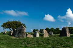 Megalietmonument Nobbin op Duits eiland Rügen stock afbeelding