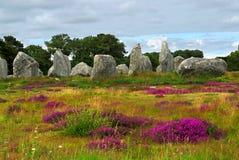 Megalithendenkmäler in Bretagne Stockfotos