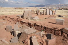 Megalithic blocks of Puma Punku Ruins, Tiwanaku Stock Image