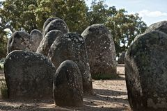 Megalithic monument of Almendres, Evora Stock Images