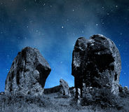 Megalithic monuments menhirs in Carnac Stock Image