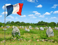 Megalithic monuments menhirs in Carnac. Brittany, France royalty free stock image