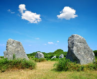 Megalithic monuments menhirs in Carnac. Brittany, France stock photos