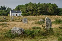 Megalithic monuments of the Stone Age in Carnac of France.  stock images