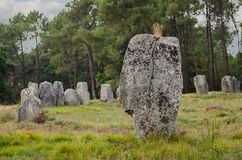 Megalithic monuments of the Stone Age in Carnac of France.  stock image
