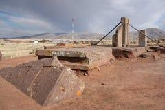 Megalithic Ruins of Puma Punku, Tiwanaku, Bolivia stock photos
