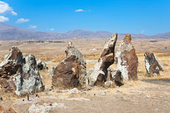Megalithic standing stone Zorats Karer in Armenia Stock Photos