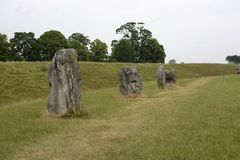 Megalithic stone circle at Avebury. UK. Standing stones of the megalithic stone circle at Avebury. Wiltshire. England Royalty Free Stock Photos
