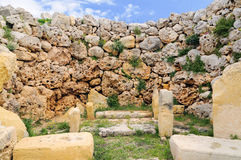 Megalithic temple Ggantia, Gozo, Malta royalty free stock image