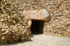 Megalithic tomb of La Hougue Bie, Jersey, UK. Entrance to the megalithic tomb of La Hougue Bie, Jersey, UK Royalty Free Stock Photography