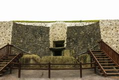 Megalithic tomb of Newgrange, the largest in Ireland located in. The Boyne Valley royalty free stock photos