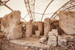 Megalitic寺庙复合体- Hagar Qim在马耳他 图库摄影