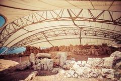 Megalitic świątynny kompleks - Hagar Qim w Malta Obraz Stock
