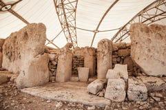 Megalitic tempelkomplex - Hagar Qim i Malta Arkivbild