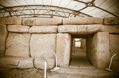 Megalitic temple complex  - Hagar Qim in Malta Royalty Free Stock Image