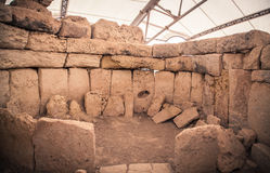 Megalitic temple complex  - Hagar Qim in Malta Royalty Free Stock Images