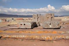 Megalityczna kamienna powikłana puma Punku Tiwanaku ci zdjęcie stock
