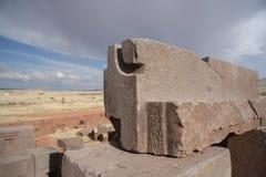 Megalityczni bloki pumy Punku ruiny, Tiwanaku, b Zdjęcie Stock