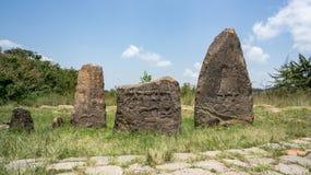 Megalityczni Tiya kamienia filary, UNESCO światowego dziedzictwa miejsce blisko, Etiopia Obrazy Stock