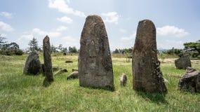 Megalityczni Tiya kamienia filary, UNESCO światowego dziedzictwa miejsce blisko, Etiopia Fotografia Stock