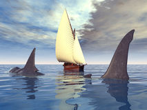 Megalodon Shark and Sailing Ship Royalty Free Stock Images