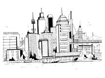 Megalopolis city, street illustration. Hand drawn sketch landscape with buildings, cityscape, office in outline style Royalty Free Stock Photography