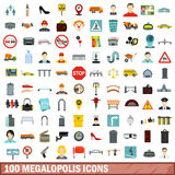 100 megalopolis icons set, flat style. 100 megalopolis icons set in flat style for any design vector illustration Stock Illustration