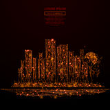 Megalopolis low poly red fire. Abstract mash line and point megalopolis in flames style on dark background with an inscription. Big city of a starry sky or space Stock Image