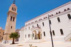 Megalos Antonios kyrka i den Rethymnon staden på ön av Kreta, Grekland Arkivfoto