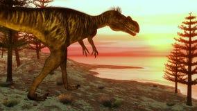 Megalosaurus dinosaur walking toward the ocean - Royalty Free Stock Photos