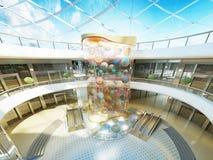 Megamall-zaal op verscheidene niveaus met glasdak en een fontein Stock Afbeelding