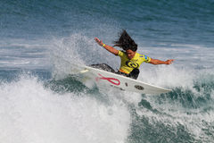 Megan Abubo. World surfing circuit in Portugal Stock Photography