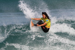 Megan Abubo. World surfing circuit in Portugal Royalty Free Stock Image