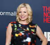 "Megan Hilty. Broadway and television singer/actress (NBC's Smash) Megan Hilty arrives on the red carpet for the New York premiere of ""The Normal Heart, "" at Royalty Free Stock Images"