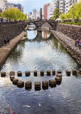 Meganebashi or Spectacles Bridge in Nagasaki Royalty Free Stock Photo