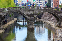 Meganebashi or Spectacles Bridge in Nagasaki Royalty Free Stock Image
