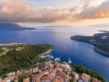 Meganisi Spartochori Village Greece. Meganisi is a Greek island and municipality immediately to the east-southeast of the island of Lefkada royalty free stock photos