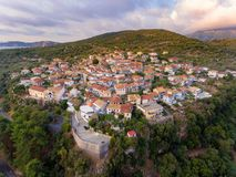 Meganisi Spartochori Village Greece. Meganisi Mediterranean Island is a well known tourist destination for the summer in Greece Europe for tourists all over stock photo