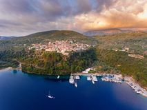 Meganisi Spartochori Village on the Meganissi Island Greece. Meganisi is a Greek island and municipality immediately to the east-southeast of the island of stock photography