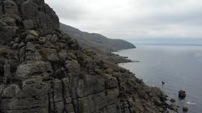 Meganom cape Crimea. Cape Meganom in Crimea in octobern stock video