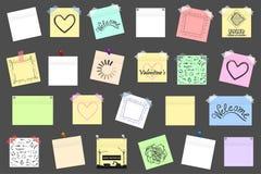 Megapak gekleurde bureaudocument stickers met schaduw Royalty-vrije Stock Afbeeldingen