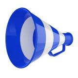 Megaphon 3D… Retro Megaphon in blauen und weißen Farben getrennt auf weißem Hintergrund. Stockfotos