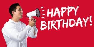 Megaphon des jungen Mannes der alles- Gute zum Geburtstaggrußfeier Stockfoto