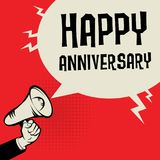 Megaphon-Hand, Geschäftskonzept mit Text glücklichem Jahrestag stock abbildung