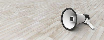 Megaphon, Megaphonweiß mit schwarzen Details über grauen Bretterbodenhintergrund, Vorderansicht, Fahne, Kopienraum Abbildung 3D Stockbild