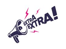 Megaphon mit 'Extraextra'Mitteilung lizenzfreie abbildung