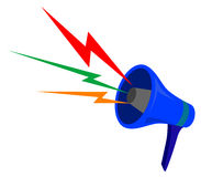 Megaphon mit Farbenwellen Stockfotografie