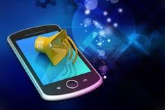 Megaphon mit intelligentem Telefon Stockfotografie