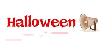 Megaphon-schreiendes Wort Halloween auf weißem Hintergrund Stockfotos